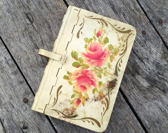 "Vintage Metal Book Box / Rustic and Shabby / Hand Painted Flowers /  9"" x 6"" x 1.25""/ Hidden Trinket Box/ Vintage Stash Box / Hideaway Box"