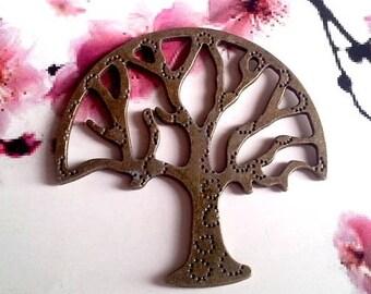 Beautiful tree of life pendant, connector, bronze, 48mm