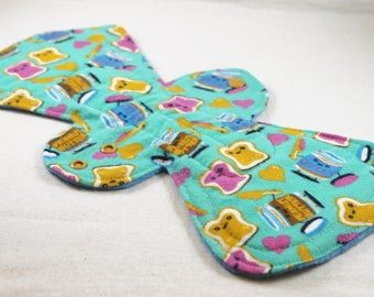 """Reusable Cloth Pad - 13"""" (33cm) Overnight/Postpartum with Double Flare - Peanut Butter Jelly Time Flannel"""