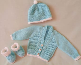 Baby Boy Cardigan Set, Hand Knitted  Baby Coat, Jacket, Hat and Shoe Set, baby gift, Baby Boy Gift, Baby Shower Gift