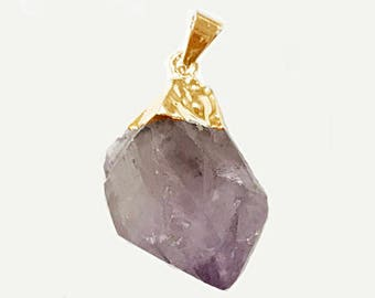 Raw Amethyst Faceted Gold Bail Pendant - Freeform  Crystal Point Pendant - 1 Inch Amethyst Nugget - DP5-Amethyst Gold