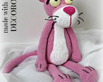 Stuffed Pink Panther made in crochet on request.