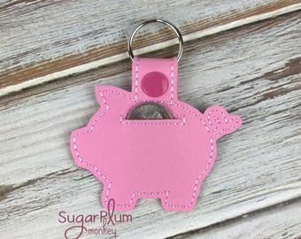 Piggy Bank cart quarter keeper holder keychain