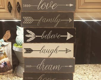 Distressed wood plank sign