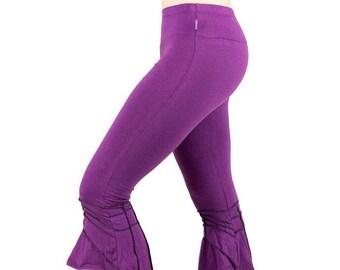 ON SALE Dark plum pixie flared legging, gypsy bells legging, fairy and elf sharped legging, purple festival legging, tribal dance performers