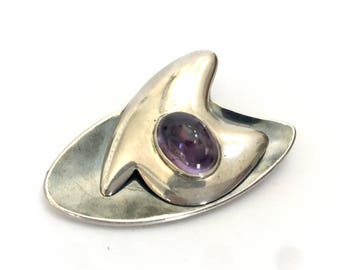 Sigi Pineda Modernist Brooch, Sterling Silver & Amethyst, Abstract, Neillo Enamel, Taxco Master Silversmith, Signed, Vintage Jewelry, 1960s