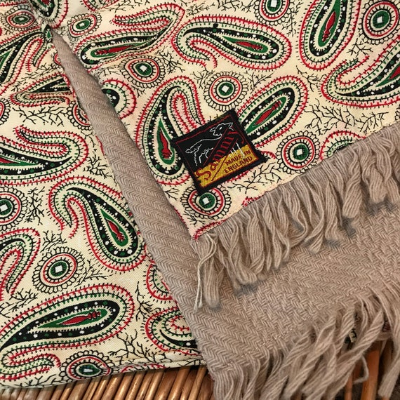 Vintage gents scarf Paisley wool back silky scarf beige long oblong tassel Sammy Mod vintage gent cravat cream Goodwood scooter gentleman
