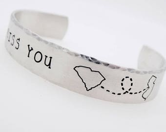 Long distance Gift, Custom state , long distance jewelry, adjustable bracelet, personalized with your state and text, long distance love