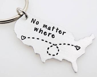 Custom State Keychain USA Keychain ldrship Long Distance Relationship Gift Best Friends Personalized  gift for boyfriend gift for girlfriend
