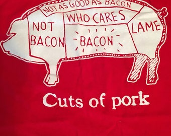 Vintage 1990s Red Cuts of Pork Bacon Tee Size Medium Cotton T Pig Animal Graphic Tee Funny Ironic Food Meat