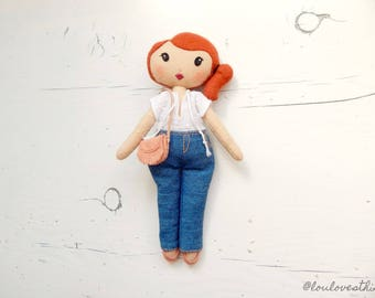 Phoebe, handmade  boho style felt doll