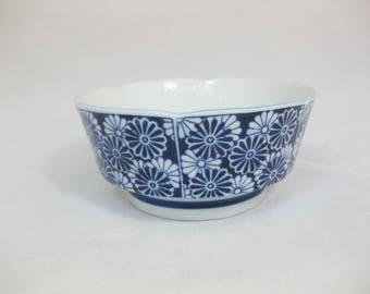 Porcelain Serving Bowl, Dansk, Blue and White Porcelain Bowl