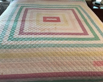 Vintage Hand-Pieced Hand-Quilted Pastel Quilt