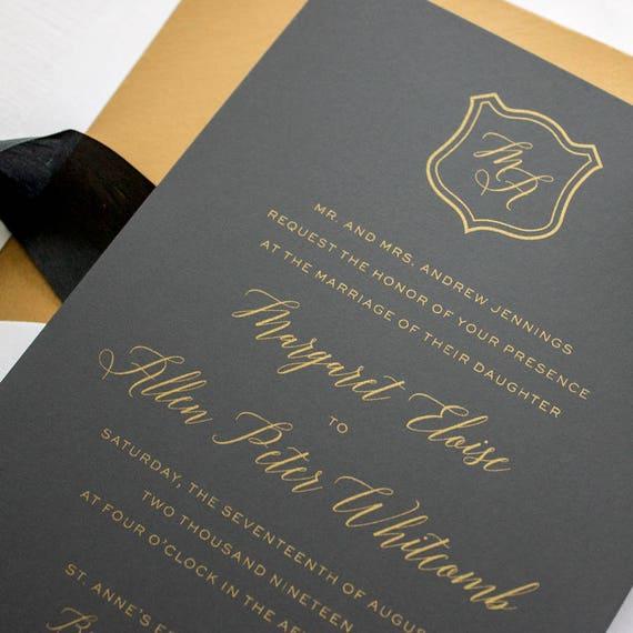 Metallic Gold Wedding Invitation Suite, Formal Wedding Invites, Gold Invitations for Black Tie Wedding Reception | SAMPLE | Dapper