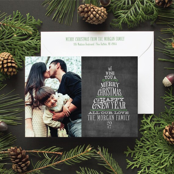 Holiday Greeting Card with Chalkboard Lettering, Family Photo Card, Hand Lettered Christmas Card, Christmas Tree in Hand Lettering