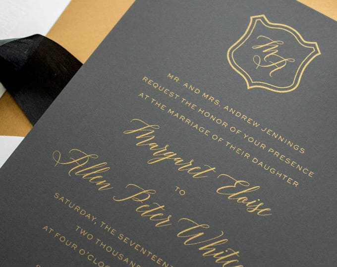 Metallic Gold Wedding Invitation Suite, Formal Wedding Invites, Gold Invitations for Black Tie Wedding Reception | SAMPLE | Dapper