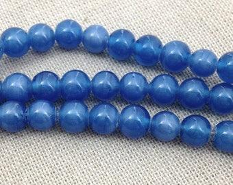 50 Vintage Satin Blue Japan Round Glass Beads 5mm