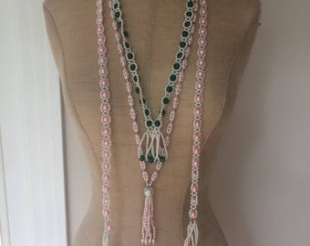 Set of Vintage Beaded Lariat Necklaces Pink Green White
