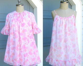 Vintage Pink Flower Babydoll Short Nightie Nightgown Robe Peignoir Set St Michael 34 36 Small Medium 1960 1970 Summer Maternity Lingerie