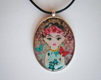 Frida Kahlo pendant - Resin pendant - Art pendant - Art jewelry - Frida Kahlo - Gift for her