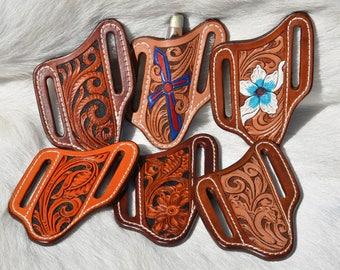 Hand Tooled Leather Pocket Knife Sheath