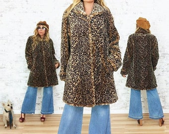 JUNE SALE Vintage 1980's Faux LEOPARD Glam Swing Coat    Animal Friendly    Size Small To Medium  Us 5/6