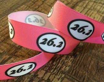 5 yards 7/8 marathon ribbon. 26.2 ribbon, running ribbon ribbon, running hairbows, marathon grosgrain ribbon, craft, crafting, marathon