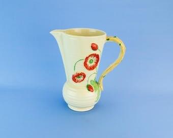 Red Poppies Water Jug Crown Devon Vase Mid century Modern c1950 Fieldings