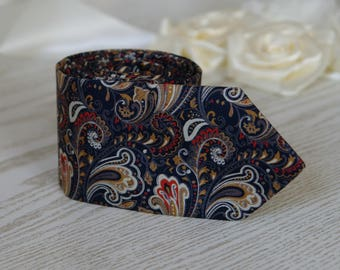 Mens Ties Navy Blue Paisley   Necktie With Matching Pocket Square  Dark Navy Blue Men's  tie   Wedding Ties   Necktie for Men FREE GIFT