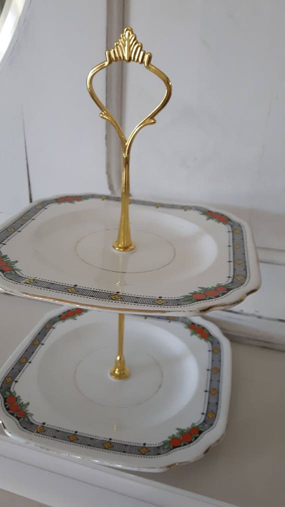 Vvintage china cake stand, trinket stand, deco style, striking and unusual yellow and black design