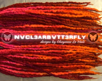 "Mohair, Silk & Wool Dreads - 28DE ""Raspberry Crush"" Dreadlocks - 17""- 21"" (Total Length = 34""- 42"") Neon Orange Pink Red UV"
