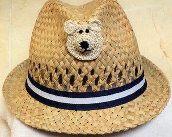Boys Infant Toddler Tan Straw Fedora Hat Cap - Handmade Teddybear Face - Blue White Ribbon - Sizes  6-12, 12-24 months, 2T-3T, and 4T-5T