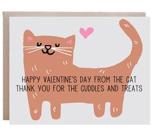 Cat Valentine's Day Card, Card from Cat, Valentine's Day, Happy Valentine's Day
