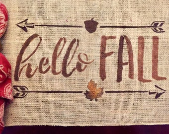 Hello Fall Placemat / Fall Burlap Placemat / Fall Placemat / Burlap Placemat / Thanksgiving Placemat