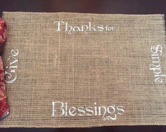 Give Thanks Placemat / Blessing Burlap Placemat / Fall Placemat / Burlap Placemat / Thanksgiving Placemat