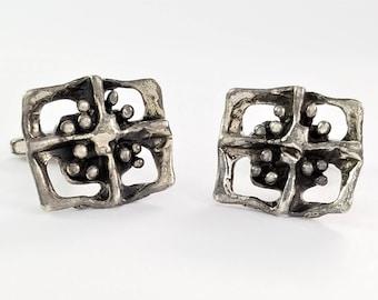 Vintage Mid Century 835 Silver Modernist Cufflinks