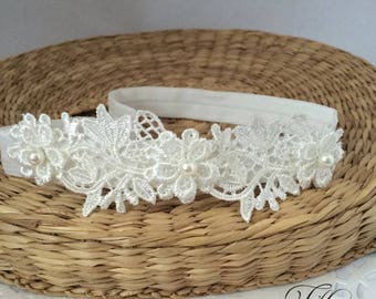 Baby lace tiara, hair band for baptism, christening, ivory lace and pearl headband