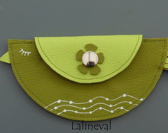 Lime green and olive green leather bird wallet