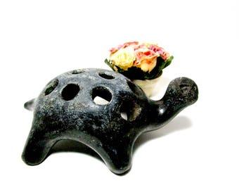 Vintage Pottery Flower Frog, Turtle Flower Frog, Large Flower Holder, Old Flower Frog, Floral Arranging Flower Frog, Garden Decor