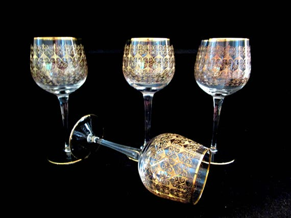 Set of 4 Wine Glasses, Bohemia Crystal, Mid Century Czech, Modern Gold Detailing