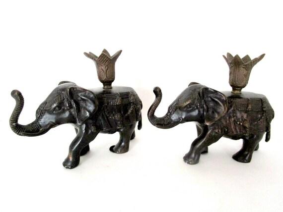 Vintage Elephant Candle Holders, Pair of Heavy Metal CandleHolders, Tribal Decor, Indian Elephants