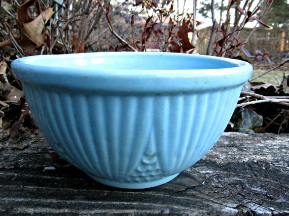 Roseville Mixing Bowl, Corn or Kernel Pattern, Blue Green Aqua, Pottery Kitchen Bowl, Roseville RRP, Modern Farmhouse, Cottage Kitchen