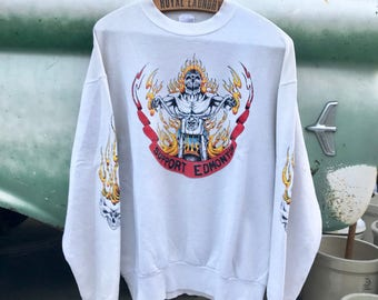 Insane Vintage Motorcycle Support Gang Hardcore Skull Thrasher Crew Neck Sweater