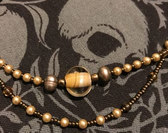 Layered Stretchy Beaded Necklace Tan