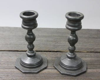 Pair of vintage pewter candle sticks, approximately 4-3/4 tall