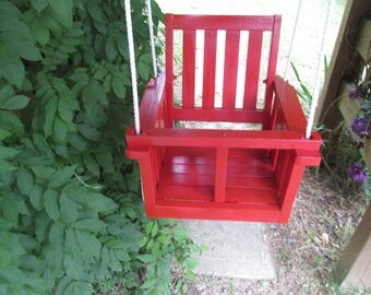 Kid's (Toddler's) solid wood painted  porch swing  (apple red)