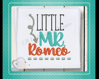 Little Mr Romeo Machine Embroidery Design Saying Words Instant Download Boys Baby arrow pattern 4x4/5x7/6x10 sizes
