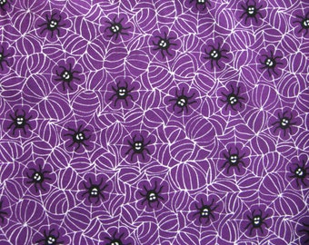 Spiders Fabric 2 Yards Remnant Purple Black White Spider Web Fabric