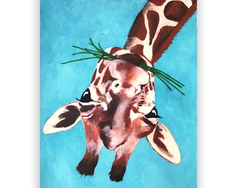 Giraffe ORIGINAL PAINTING handpainted, giraffe art, giraffe painting, giraffe love, Merry Everything, Happy Always,Joy Peace and Love
