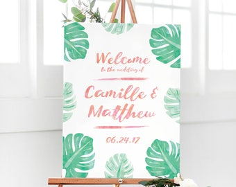 Tropical Wedding Welcome Sign with Watercolor Palm Leaves for Tropical Wedding Theme - Destination Wedding Welcome Sign - Paradise Wedding
